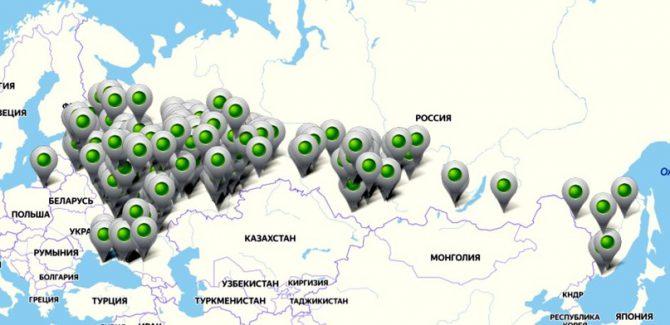 Поселения родовых поместий на карте России